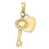 Flat Heart with Puff Round Key Pendant 14k Gold K4689