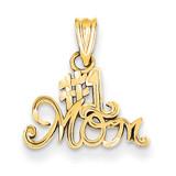 #1 Mom Charm 14k Gold K4719