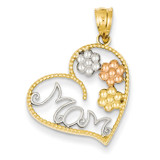 Tricolor MOM & Flowers Pendant 14k Gold K4728