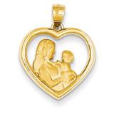 Mom Baby Heart Charm 14k Gold K4753