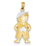 Boy with Hands in Pockets Pendant 14K Gold & Rhodium K4755