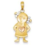 Girl Pendant 14K Gold & Rhodium K4756