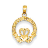 Satin Diamond-cut Flat-Backed Claddagh Pendant 14k Gold K4769