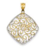 Diamond-cut Filigree Swirl Pendant 14K Gold & Rhodium K4789