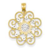 Diamond-cut Swirl Round Pendant 14K Gold & Rhodium K4790