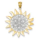 Sun Filigree Pendant 14K Gold & Rhodium K4814