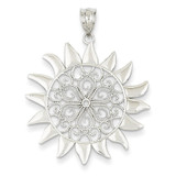 Filigree Sun Pendant 14k White Gold K4815