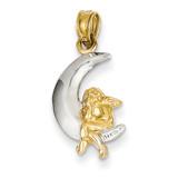 Polished Moon with Angel Pendant 14K Gold & Rhodium K4816