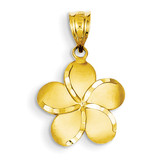 Plumeria Pendant 14k Gold Diamond-cut K4826
