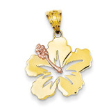 Hibiscus Flower Pendant 14k Yellow & Rose Gold K4829