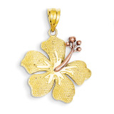 Yellow with Rose Hibiscus Charm 14k Two-Tone Gold K4830
