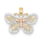 Diamond-cut Butterfly Pendant 14k Yellow & Rose Gold with Rhodium K4832