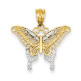 Diamond-cut Butterfly Pendant 14K Gold & Rhodium K4841