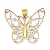 Diamond-cut Butterfly Pendant 14K Gold & Rhodium K4843