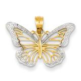 Butterfly Pendant 14K Gold & Rhodium K4845
