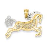 Filigree Horse Pendant 14K Gold & Rhodium K4861