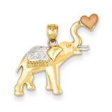 Diamond-cut Elephant with Heart Pendant 14k Yellow & Rose Gold with Rhodium K4864