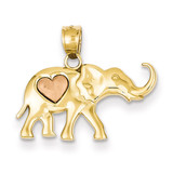 Elephant with Heart Charm 14k Yellow & Rose Gold K4865