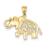 Filigree Elephant Pendant 14k Gold K4866