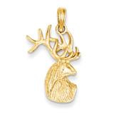 Deer Head Charm 14k Gold Polished K4870