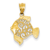 Filigree Fish Pendant 14k Gold K4872