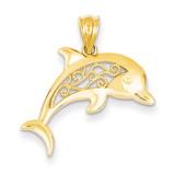 Filigree Dolphin Pendant 14k Gold K4877