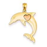 Dolphin with Heart Pendant 14k Two-tone Gold K4878
