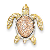 White Rhodium Turtle Pendant Slide 14k Two-Tone Gold K4882