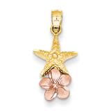 Starfish with Plumeria Pendant 14k Yellow & Rose Gold K4895