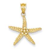Diamond-cut Starfish Pendant 14K Gold & Rhodium K4898