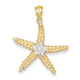 Diamond-cut Starfish Pendant 14K Gold & Rhodium K4899