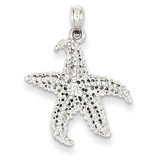 Polished & Textured Starfish Pendant 14k White Gold K4901