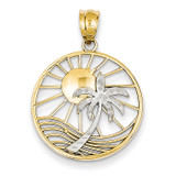 Sun & Palm Tree Pendant 14k Two-tone Gold K4902