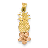 Pineapple with Plumeria Pendant 14k Yellow & Rose Gold K4907