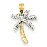 Palm Tree Pendant 14K Gold & Rhodium K4915