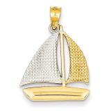 Textured Sailboat Pendant 14K Gold & Rhodium K4919