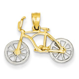 Moveable Bicycle Pendant 14k Two-Tone Gold K4924