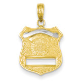 Police Badge Pendant 14k Gold K4926