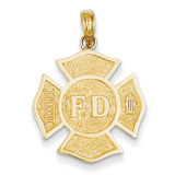 Fire Department Badge Pendant 14k Gold K4927