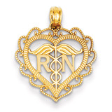 Registered Nurse Heart Pendant 14k Gold K4932