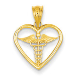 Caduceus Heart Medical Pendant 14k Gold K4936