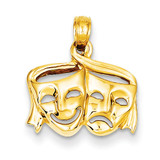 Satin Polished Open-Backed Comedy Tragedy Pendant 14k Gold K4945