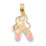 Enameled Ballet Slippers Charm 14k Gold K4946