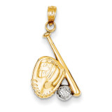 Baseball, Bat, & Glove Pendant 14K Gold & Rhodium K4947
