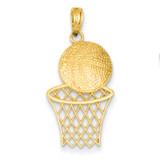 Basketball & Net Charm 14k Gold Diamond-cut K4951