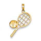 Tennis Racket Charm 14k Gold Diamond-cut K4958