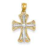 Rhodium Diamond-cut Cross Pendant 14k Gold K5018
