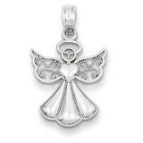 Polished & Textured Guardian Angel Pendant 14k White Gold K5097
