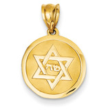 Star of David Disc Charm 14k Gold K5098