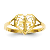 Heart with Cross Ring 14k Gold Polished K5117